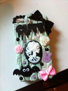 My handmade pastel goth mint green decoden iPhone case