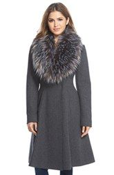 Vera Wang 'Serena' Faux Fur Collar Wool Blend Fit & Flare Coat