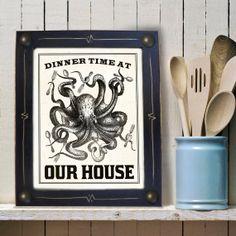 Kitchen Art Print Octopus Big Family Dinner Time Black by DexMex, $49.00