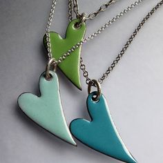 Enamel Necklace Hearts  Necklace  Layered Aqua by OxArtJewelry, $68.00