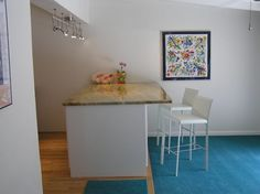 Kitchen Black Frame Painting With Flower Also White Classic Chair And Blue Floor Besides Mat   Kitchen Peninsula: An Alternative to Kitchen Island