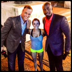 Kacy Catanzaro with the American Ninja Warrior commentators. Yes, she kicks ass while being that tiny.