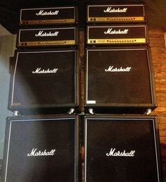 MARSHALL ∞ JCM 1960 4X12 Cabs and First Edition MARSHALL - JCM-900 - High-Gain-Dual-Reverb -100-WATT-TUBE-HEADS (Dual Stereo Setup) 2 MARSHALL Heads per stack ∞ Setup to run in Stereo ☆★ Marshall Amplification, Lights Tour, Guitar Collection, Guitar Amp, Gain, Guitars, Tube, Theory, Music