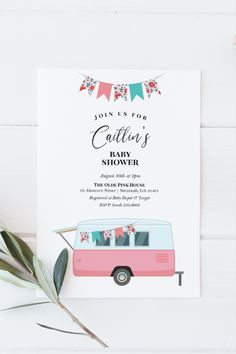 Vintage Camper Baby Shower Invitation Template   Baby Shower or Drive By Shower   Camping or Adventure Theme   Pink   Instant Download   5x7 Invitation Card Printing, Invitation Design, Invitation Cards, Baby Shower Templates, Baby Shower Invitation Templates, Note Fonts, Sprinkle Invitations, Pink Houses, Summer Baby