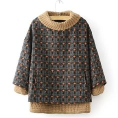 Retro Style Stand Collar Knitted Splicing Worsted Long Sleeve Sweatshirt For Women