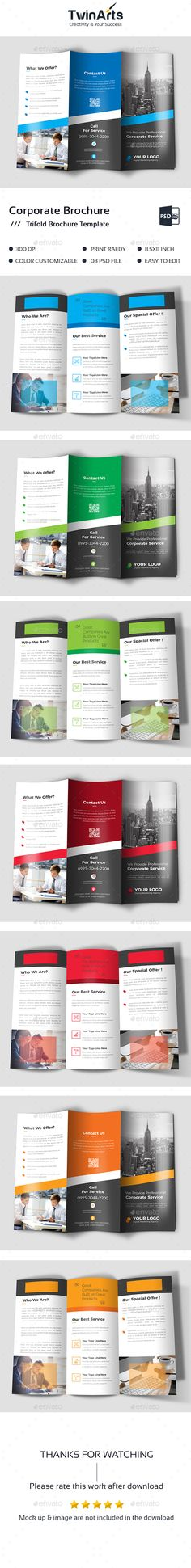 Trifold Brochure — Photoshop PSD #customisable #brochure • Available here → https://graphicriver.net/item/trifold-brochure/19813841?ref=pxcr