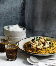 Australian Gourmet Traveller recipe for dhal with crisp cauliflower and rasam.