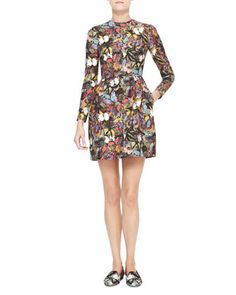 Long-Sleeve Butterfly Print Bambolina Dress, Multicolor by Valentino at Bergdorf Goodman.