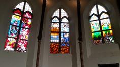 Stainedglass Bakenesserkerk Haarlem by dutch cartoon artist Roel Smit, Hans Klaver, Gerrie Hondius