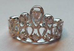 Sterling Silver CZ Crown Ring by JewelryByCaraH on Etsy
