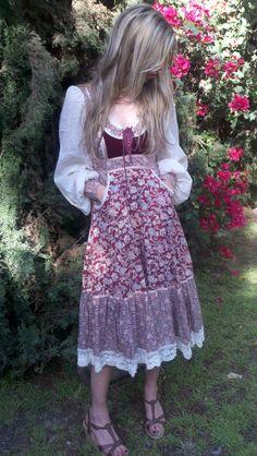 70s Summer Renaissance Gunne Sax Dress Prairie Girl Corset Floral. $118.00, via Etsy.