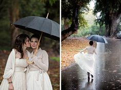 Making the most of a rainy wedding day.  These pictures are gorgeous.  I love her wrap.