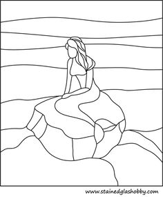 Outline sea and mermaid pattern stained glass