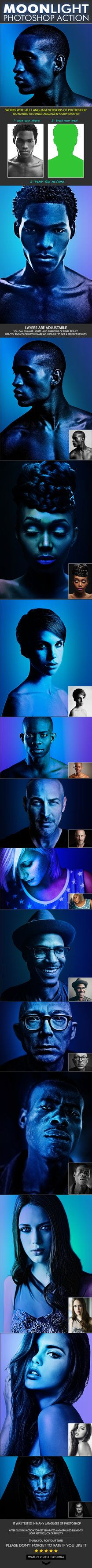 """DOWNLOAD: goo.gl/ECyXgJMoonlight Photoshop ActionThis action was made based on the movie""""MoonLight"""". Your photo will look like a movie poster. Create a wonderful moonl..."""
