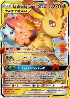Leafeon & Shaymin GX Custom Pokemon Card Pokemon Mew, Pokemon Ninetales, Pokemon Dolls, Pikachu, Pokemon Fusion, Pokemon Card Memes, Cool Pokemon Cards, Rare Pokemon Cards, Pokemon Trading Card