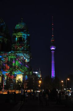 berlin dom and fernsehturm - during 2011's festival of lights