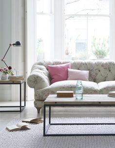 Loaf's Chesterfield style Bagsie sofa in Vintage Rose with pink pastel Scatter cushions