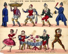 A printed sheet of Pantomime Characters by the famous London Toy Theatre maker, Benjamin Pollock