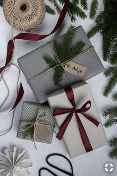 christmas mood Simple gift wrapping using foliage and recycled ribbon Cute Christmas Gifts, Christmas Mood, Noel Christmas, Christmas Gift Wrapping, Christmas Presents, Holiday Gifts, Christmas Crafts, Christmas Decorations, Minimal Christmas
