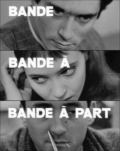 """This image is a promotional poster for Jean Luc Godard's 1964 film """"Bande a part""""or Band of Outsiders. As a pioneer of the French New Wave movement in cinema, Godard saw himself as one of the only directors in his generation not afraid to take risks."""
