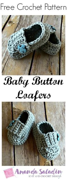 Create a sweet pair of baby booties for a little one in your life with this free easy pattern for the Baby Button Loafers.