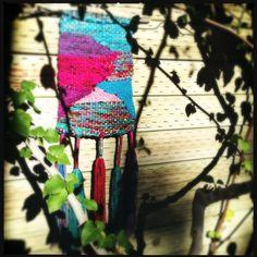 rainbowkimono — Blue & Fuchsia woven wall hanging