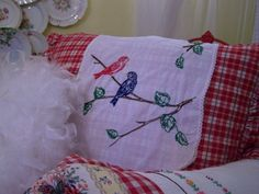 Vintage embroidered runner on a sweet plaid pillow (from Cherry Hill Cottage)
