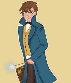 Newt Scamander! Por fin un Hufflepuff tendrá sus propias películas💛// Newt Scamander! Finally a Hufflepuff will have his own movies💛 . . .#fantasticbeastsandwheretofindthem #newtscamander #hufflepuff #fanart #harrypotter #jkrowling #hogwarts #fantasticbeasts
