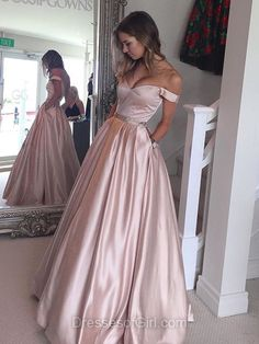 Ball Gown Off-the-shoulder Satin with Beading Floor-length Prom Dress