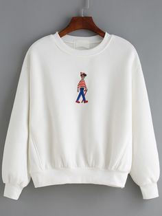 Simple and style fashion :Get some bright color for the coming spring ! This Loose Cartoon Embroidered White Sweatshirt is quite fresh and adorable .Easy pullover outfit for school or trip .