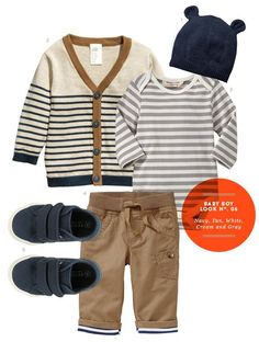 Baby Boy Outfit: Baby Boy Look No. 6: Navy, Tan, White, Cream and Gray from The Kids' Dept.