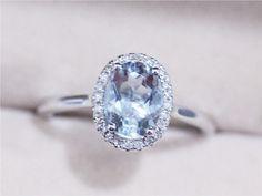 VS 6x8mm 1.15ct  Blue Aquamarine Ring Solid 14K White Gold Oval  .16ct Diamond  $400.00 AbbyandWills