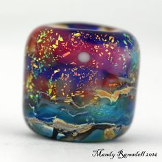 DREAD BEAD glass dread bead handmade seascape ocean moon dreadlock bead by lionspawjewelry