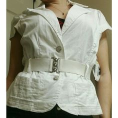 NEW LISTING White Short Sleeve Blazer w/Belt This short sleeve white blazer in a juniors size LARGE is perfect for the lady that likes to look presentable, but still be comfortable. It has two buttons down the front and a nice collar. It also comes with a stretchy belt that helps cinch in your waist and give you that hourglass figure. It is brand new with tag. Ashley  Other