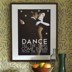 Original Design A3 A2 A1 Art Deco Bauhaus Poster Print, Vintage Dance Tango Themed, w.h.auden Quote