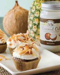 Chocolate Almond Cupcake with Coconut Frosting, using La Tourangelle Coconut Oil