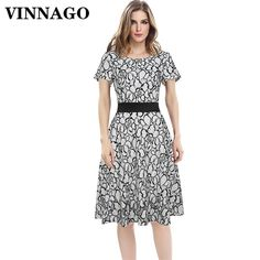Cheap dress for, Buy Quality white summer dress directly from China dress for women Suppliers: Vinnago Fashion Black White Summer Dresses for Women Elegant Knee Length Homecoming Work Office Evening Party Formal Lace Dress Black And White Summer Dresses, Summer Dresses For Women, Black White, Dresses For Work, Beach Dresses, Fashion Black, Evening Party, Cheap Dresses, Homecoming