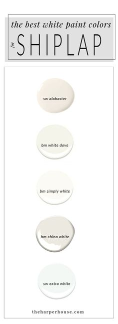 best white paint colors to paint shiplap; sherwin williams alabaster & www.theharperhous& Source by chellemarshall The post White Paint Colors: 5 Favorites for Shiplap Best White Paint, White Paints, White Trim Paint, Paint Trim, Wall Colors, House Colors, Paint Colours, Cottage Paint Colors, Lowes Paint Colors