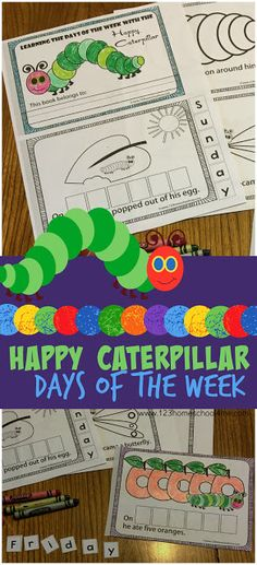 FREE Hungry Caterpillar Days of the Week!! This free printable book is lots of educational fun  for Preschool, PreK,  Kindergarten first grade, and more. This is SO CUTE and such a fun way for kids to learn the days of the week with one of their favorite stories!