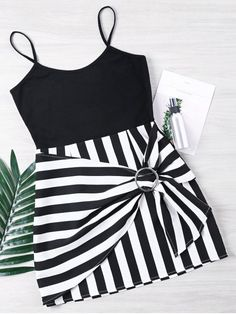 Product Striped Panel Spaghetti Strap Dress available for Zaful WW, get it now ! Cute Casual Dresses, Dresses Short, Cute Outfits, Dress Outfits, Ladies Dresses, Women's Dresses, Summer Outfits, Trendy Fashion, Girl Fashion