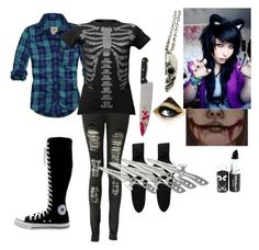 """If I was a creepypasta"" by darknesssinmymind ❤ liked on Polyvore featuring Boohoo, Converse, Hollister Co. and Kreepsville 666"