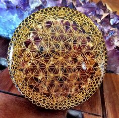 10cm Majestic Golden Flower of Life and Star Tetrahedron (Merkaba) Orgonite Generator Disc (hand laid)