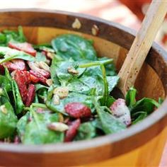 Strawberry Spinach Salad - cut sugar in half, use balsamic vinegar, add red onion and feta cheese