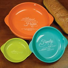 Kitchen Gifts - Christian 3 Piece Bakeware Set Three-Piece Bakeware Set Vibrantly hued baking dishes nest together to create a lovely display. Trio of dishes of Kitchen Gifts, Kitchen Decor, Christian Gifts For Women, Christian Shirts, Christian Faith, Dish Display, Baking Set, Baking Dishes, Bakeware