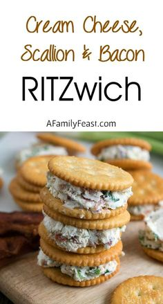 Cream Cheese, Scallion and Bacon RITZwich - use Waza crackers for THM-S snack Finger Food Appetizers, Yummy Appetizers, Appetizers For Party, Appetizer Recipes, Snack Recipes, Cooking Recipes, Savory Snacks, Health Appetizers, Toothpick Appetizers