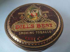 Dill's Best Smoking Tobacco Cube Cut Vintage Round Tin Richmond, VA