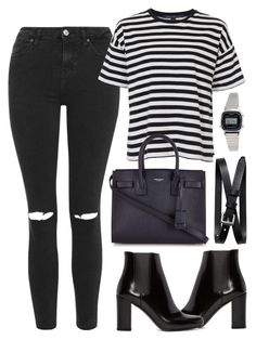 A fashion look from January 2016 featuring stripe t shirt, high waisted ripped jeans and black ankle booties. Browse and shop related looks. Street Chic, Street Style, Fall Outfits, Cute Outfits, Wearing All Black, Runway Fashion, Womens Fashion, Black Ankle Booties, Ripped Jeans