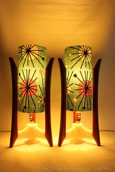 Pair of Retro Grain Mid-century style table lamps. RetroGrain.com African Padauk wood, white base, atomic teal shades.