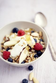 Basic Muesli mix, fresh fruit, a handful of nuts, yogurt, honey