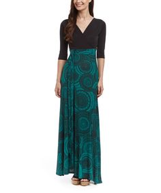 Love this Black Circle Surplice Maxi Dress by GLAM on #zulily! #zulilyfinds